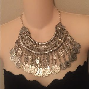 Beautiful gypsy boho style coin Silver necklace